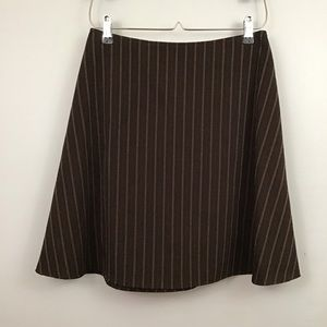 Brown pinstripe mini skirt